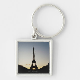 Silhouette of Eiffel Tower Silver-Colored Square Key Ring