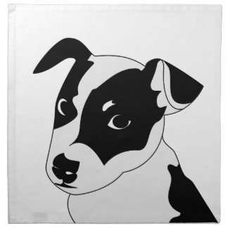 Silhouette of funny playful little puppy DOG Napkin