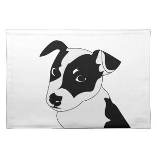 Silhouette of funny playful little puppy DOG Placemat