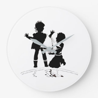 silhouette of girl and boy and model boat large clock