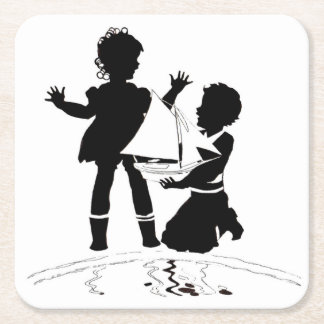 silhouette of girl and boy and model boat square paper coaster