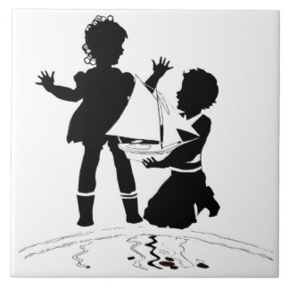 silhouette of girl and boy and model boat tile