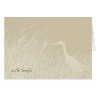Silhouette of heron in marsh grass card