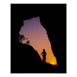 Silhouette of hiker, Point of the Arches, Poster