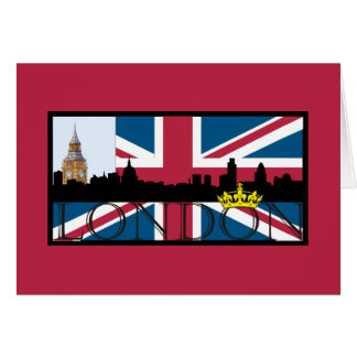 Silhouette of London and Union Jack Card