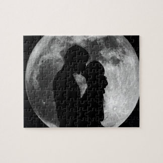 Silhouette of lovers in a full moon at night jigsaw puzzle