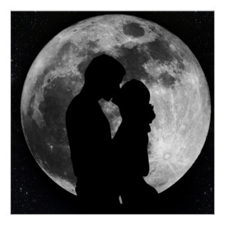 Silhouette of lovers in a full moon at night poster