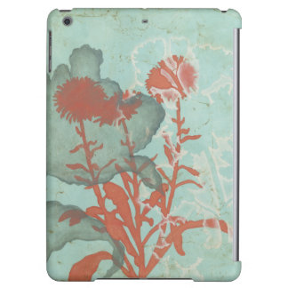 Silhouette of Red Flowers on Teal Background
