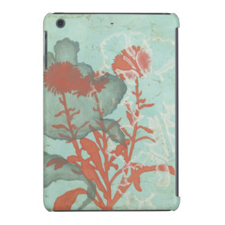 Silhouette of Red Flowers on Teal Background iPad Mini Cover