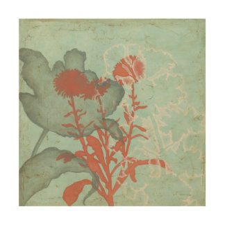 Silhouette of Red Flowers on Teal Background Wood Wall Art