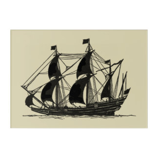 Silhouette of Ship with Billowing Sails Acrylic Print