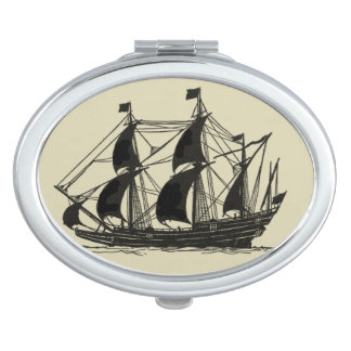 Silhouette of Ship with Billowing Sails Makeup Mirrors