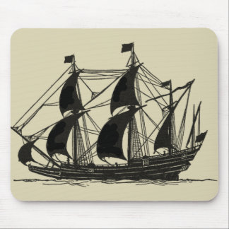 Silhouette of Ship with Billowing Sails Mouse Pad