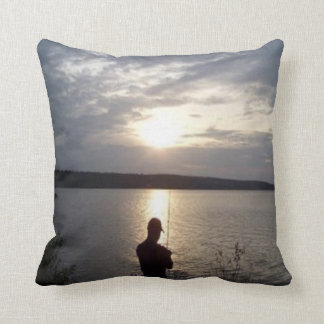 Silhouette of the fishing at sunset cushion