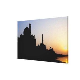 Silhouette of The Taj Mahal at sunset, Agra, Gallery Wrap Canvas