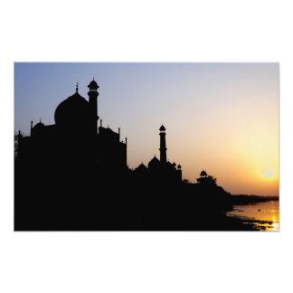 Silhouette of The Taj Mahal at sunset, Agra, Art Photo