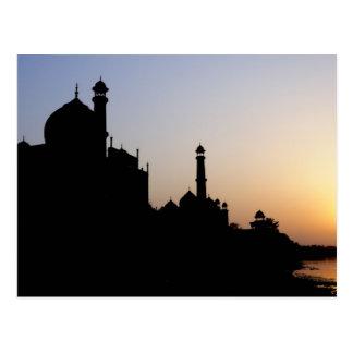 Silhouette of The Taj Mahal at sunset, Agra, Postcard