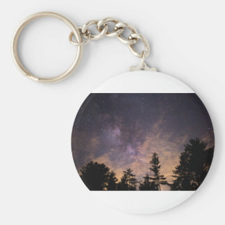 Silhouette of Trees at Night Key Ring