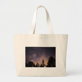Silhouette of Trees at Night Large Tote Bag