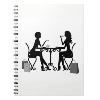 *SILHOUETTE OF WOMEN AT LUNCH* SPIRAL NOTEBOOK