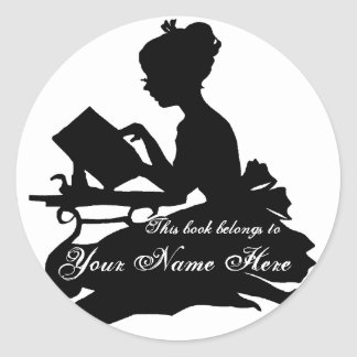 Silhouette of Young Girl  Reading Bookplate Round Sticker