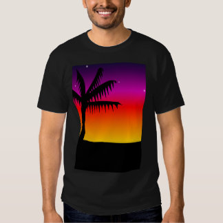 Silhouette palm tree t shirts