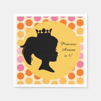 Silhouette Princess Custom Birthday Paper Napkin