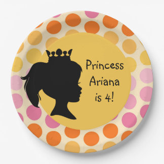 Silhouette Princess Custom Birthday Paper Plates 9 Inch Paper Plate