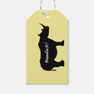 Silhouette Rhinoceros Gift Tags