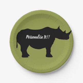 Silhouette Rhinoceros Paper Plate