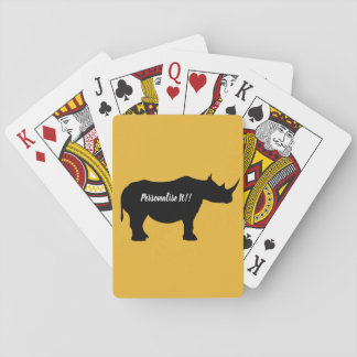 Silhouette Rhinoceros Playing Cards