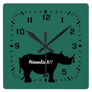 Silhouette Rhinoceros Square Wall Clock