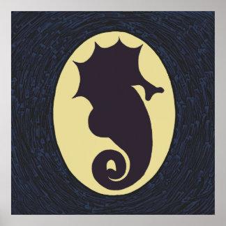 Silhouette Seahorse Artwork Poster