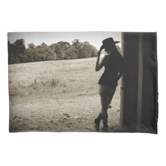 Silhouette Sepia Cowgirl pillow case