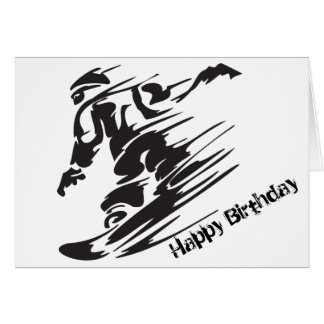 Silhouette Snowboarding Mountain Birthday Card