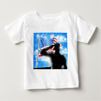 Silhouette Soldier Saluting American Flag Baby T-Shirt