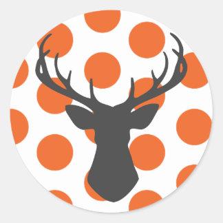 Silhouette Stag Head Round Sticker