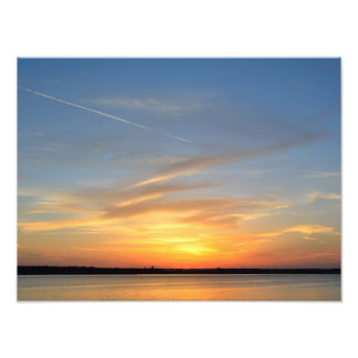 Silhouette Sunset over the river photo print