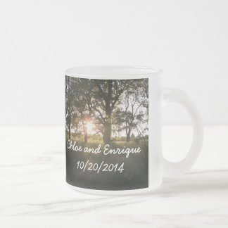 Silhouette Trees And Sunlight Personalised Weddin Frosted Glass Coffee Mug