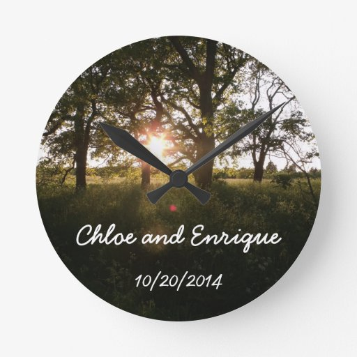 Silhouette Trees And Sunlight Personalized Weddin Round Wallclocks