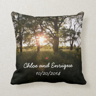 Silhouette Trees And Sunlight Personalized Weddin Throw Cushions