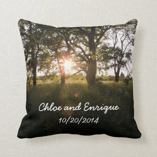 Silhouette Trees And Sunlight Personalized Weddin Throw Pillows