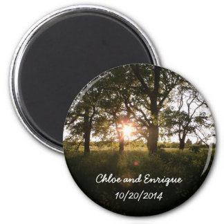 Silhouette Trees And Sunlight Personalized Weddin Refrigerator Magnet