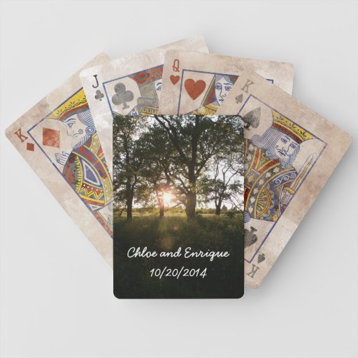 Silhouette Trees And Sunlight Personalized Weddin Bicycle Poker Cards