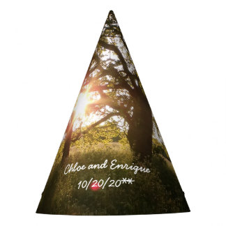 Silhouette Trees And Sunlight Wedding Ornament Party Hat