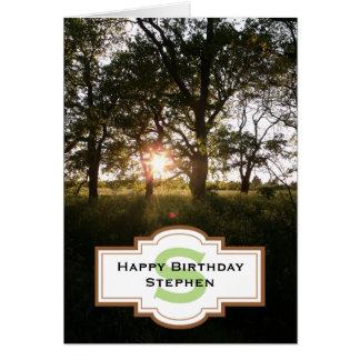 Silhouette Trees Happy Birthday Monogram Card