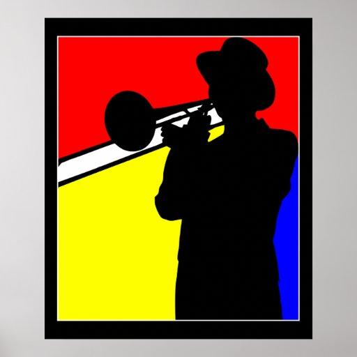 "Silhouette trombone player, mondrian style art 20"" print"