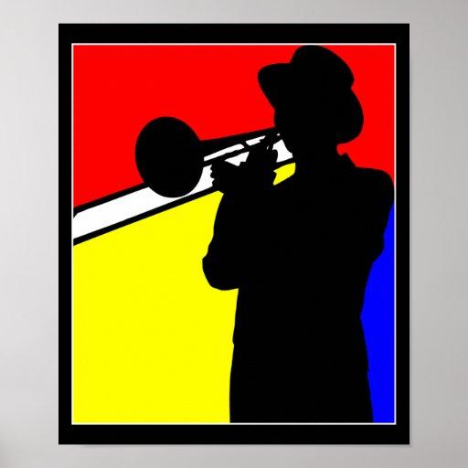 Silhouette trombone player, mondrian style art print