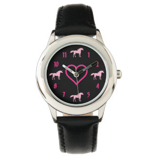 Silhouette Unicorns and Heart Pink and Black Girls Watch