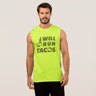 Silhouette Will Run For Tacos T-Shirt Safety Green